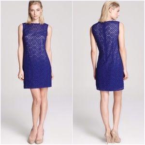 Elie Tahari Blue Crochet Sleeveless Jette Dress